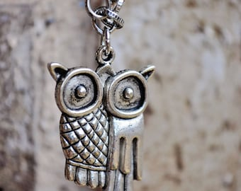 Necklace - Adorable abstract owl pendant on antiqued silver chain
