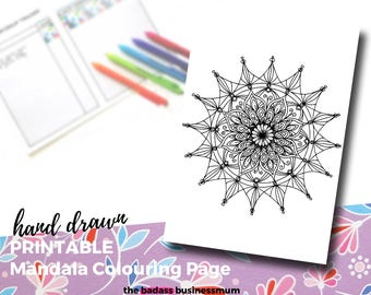 Mandala Adult Coloring Pages, coloring page pdf. A4 / US Letter Sized, full sized Mandala coloring page