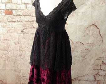 Black Lace Goth Dress Velvet Empire Waist Romantic Bohemian Gothic Upcycled size small