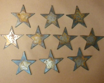 Lot of 10 Rough and Rusty Stars 3 inch Metal Art Ornament Stencil Wind Chime Sign DIY Craft