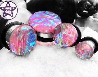 "Superjelly Pink Rainbow Dichro Plug / Gauge Clear Flash Faux Dichoric Translucent 2g, 0g, 00g, 7/16"" / 6mm, 8mm, 10mm, 11mm"