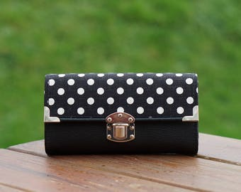Smartphone Wallet, Womens Wallet, Black Dots, 19x10cm, Long Wallet, Women's Wallet, Vegan Leather Wallet, Fabric Wallet, Purse