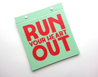 Running Bib Holder - Run your heart out - Gifts for Runners - Race Bib Book Hand-bound for Runners Pale Green and Red