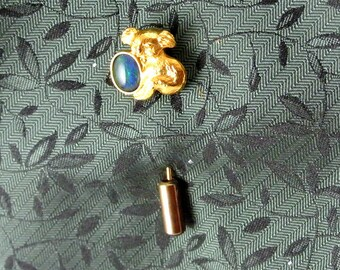 Koala Bear Lapel Pin Gold Tone Stick Pin Oval Blue Stone Gold Bear Pin Vintage 70 Pin Australian Koala Bear Pin