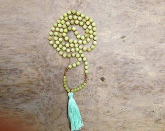 SUNSHINE and MINT GRATITUDE, 108 mala beads, peridot jade with 22K gold beads, mint tassel, meditation beads, tassel necklace, yoga necklace