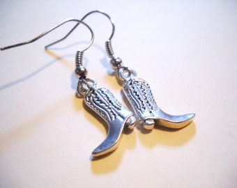 "Boot Earrings Silver Boot Earrings Dangle Earrings Cowgirl Earrings Cowboy Boot Earrings Western Earrings 1.25"" Stainless Steel Wires"