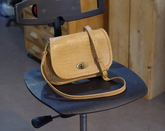 mustard camel crocodile printed leather shoulder bag