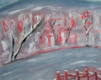 Vintage expressionist landscape  oil painting