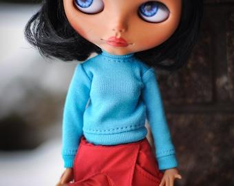 Blythe bright blue roll neck sweater- Blythe clothes  by BlablaBlythe