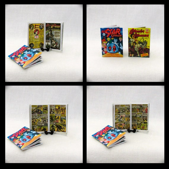 WONDER WOMAN COMIC Book Set of 2 - 1:6 Scale Illustrated Minature Readable Scale Books Dc Comic Super Hero Diana Prince Diana Justice League