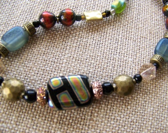 Geometric jewelry,beaded necklaces,Spring jewelry,Autumn Beaded Necklace,Rectangle necklace,Easter Jewelry,Handmade gifts for her, #90