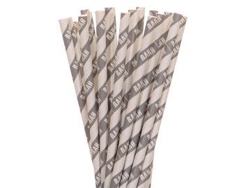 Paper Straws, Gray Rah Striped Straws, Gray and White Paper Straws, Celebration Gray Straws, Gray and White Paper Straws, Gray Paper Straws