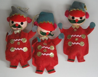 Vintage Christmas Ornaments set of 3 red felt soldiers