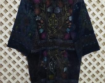 Plus size black high quality unisex uzbek colorful pure natural silk handmade embroidery jacket chapan elegant kaftan coat suzani style 594 1mfdJsK2g