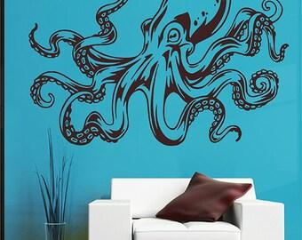 Octopus Wall Decal Kraken Decal Sea Animals Octopus Vinyl Wall Decals Nautical Wall Decals Bedroom Bathroom Decor kik2877