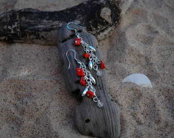 Hot pepper, recycled glass, and silver beaded earrings