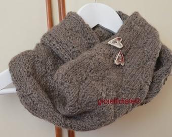 Woman neckwarmer, brown neckwarmer, wool neckwarmer, infinity scarf, brown scarf, raku ceramic buttons, woman birthday, woman Christmas gift