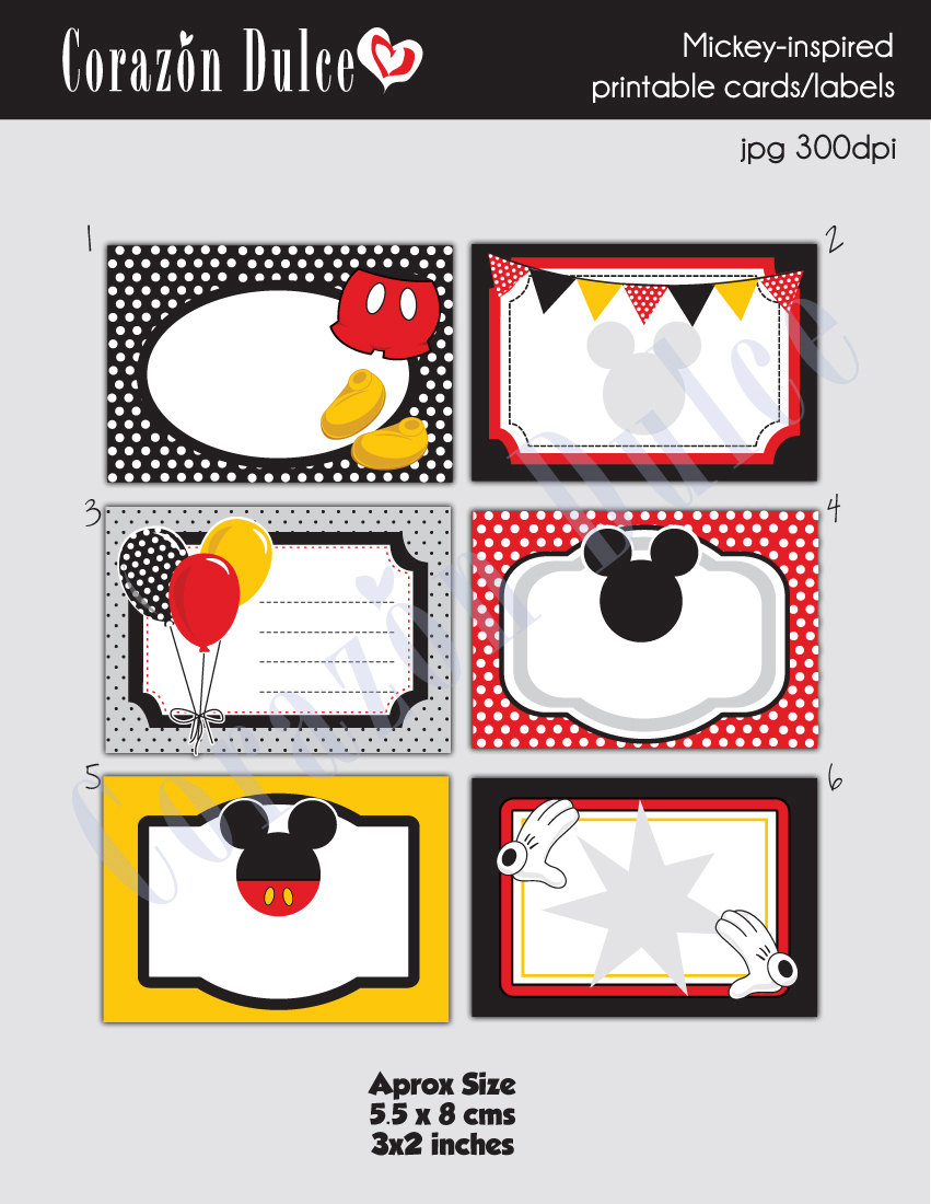 Instant download mickey inspired printable cardstags book zoom reheart Choice Image