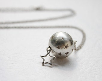 Vintage style cute star with silver ball necklace - S2139