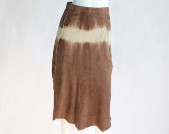 Vintage Danier BROWN SUEDE LEATHER Skirt with Uneven Bottom - Size Extra Small (0 U.S.)