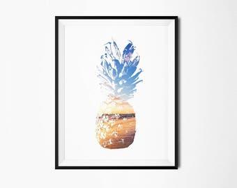 pineapple print, pineapple art, pineapple decor, tropical decor, tropical wall art, tropical print, pineapple wall art, printable pineapple