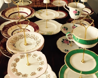 Custom 10x Cake Stands for Wedding Centre Pieces/Afternoon Tea Party made from vintage china
