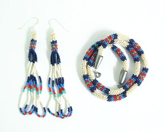 Peyote Stitch Bead Jewelry, Vintage Beaded Necklace Earring Set, Glass Seed Beads, Woven Beadwork, Patriotic Jewelry, Red White Blue Jewelry