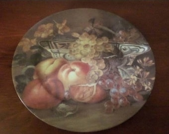 REDUCED Vintage St Martin Limoges Email Hand Painted 7 1/2 Inch Fruit Plate Pristine Condition