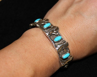 Coyote Sterling Silver and Turquoise Cuff Bracelet