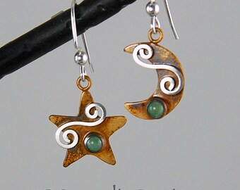 Sterling Silver Moon & Star Earrings with Green Aventurine and Mystic Spirals, Starry Night Earrings, Silver Star Moon Earrings, Celestial