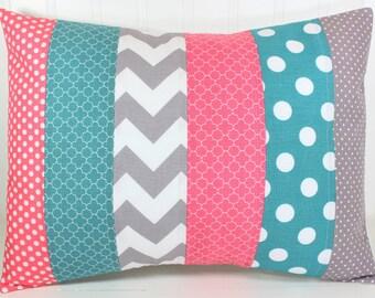 Pillow Cover, Cushion Cover, Nursery Decor, Home Decor, Throw Pillows, Decorative Pillows, 12 x 16, Coral, Pink, Teal, Gray, Grey, Baby Girl