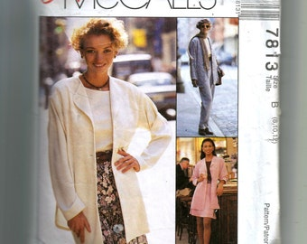 McCall's Misses' Unlined Jacket , Top, Pull-On Pants and Bias Skirt Pattern 7813