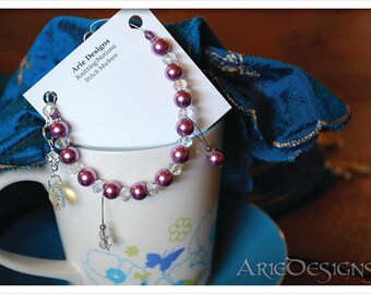 Row Counter Bracelet - Purple Pearl & Crystal with Crystal Charm