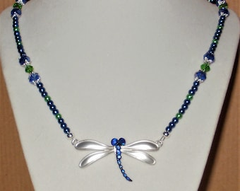 Blue & Green Dragonfly Necklace