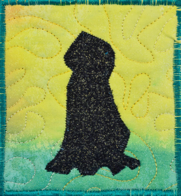 Fiber Art Wall Hanging dog Art Quilt fiber art Miniature