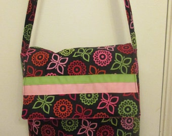 Quilted Black Flower Messenger Bag