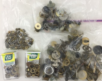 Steampunk Supplies, 200+, Cogs, Gears, Handles, Complications, Craft Supplies, Watch Parts