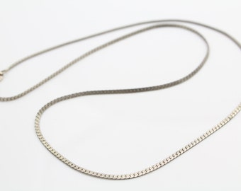 """Vintage Sterling Silver Flat Serpentine Chain Necklace 18"""". [6258]"""