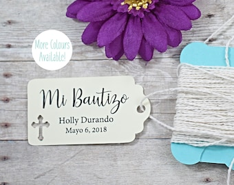 Cream Baptism Tags 20pc - Mi Bautizo - Thank You Tags for Confirmation - Ivory Catholic Favor Tags - Christian Party Favor Tags