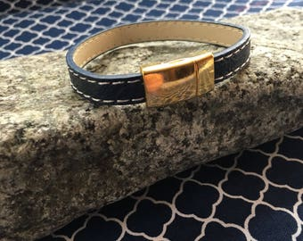 Blue and white stitched leather bracelet