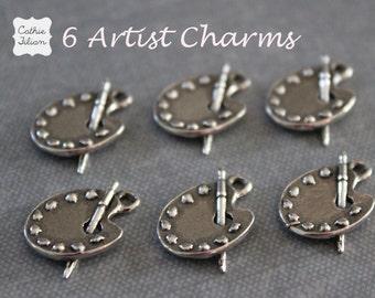Artist Charms - set of 6 - Embellishment, Charm, Jewelry Making, Bracelet - Antique silver painters pallet