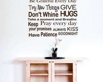 Wall Decal Rules of the house living room wall decal Custom Wall Decal Vinyl Wall Stickers Decals custom size