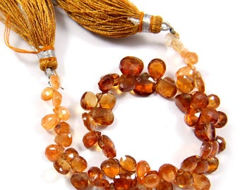 Natural Hessonite Garnet Gemstone,Faceted Heard Beads,Wire Wrappped Making Jewelery,Gemstone Size 4-7 mm,Full 1 Strands X 8 inches,BL-54