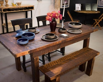 Reclaimed 100 Year old Barnwood Dining Table & Bench