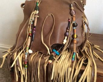 Fringe Purse, Leather Beaded Fringe Bag, Leather Bag, Brown Leather Tassel Bag, Boho Bag, Fringe Handbag, Leather Shoulder or Cross Body Bag