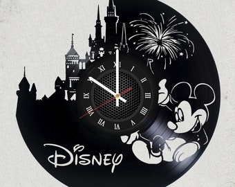"WALT DISNEY Mickey Mouse VINyL RECoRD CLoCK made from 12"" Minnie Mouse Vinyl Record best gift for kids bedroom gift for fans childern gift"