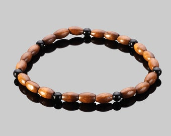 Onyx and Wood Bracelet
