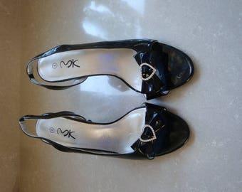 Vintage Black Patient Heel Slingback Shoes size uk4