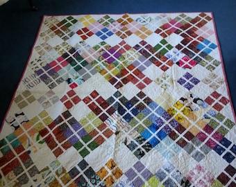 Multi-color twin size quilt