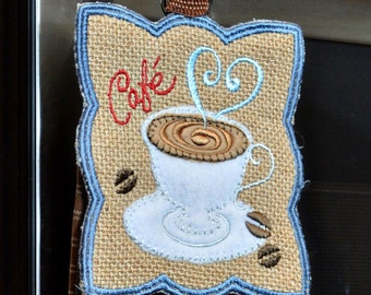 Burlap Towel Topper with Tea Towel - Coffee Cafe